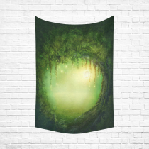 InterestPrint Tree of Life Wall Art for Home, Fairy Decor In Artistic Enchanted Dark Forest and Lights Cotton Linen Tapestry Wall Hanging Art Sets