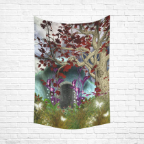 InterestPrint Mystical Magical Tree Anime Moon Wall Art Home Decor, Fairy Fantasy House by Night Cotton Linen Tapestry Wall Hanging Art Sets