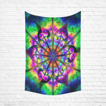 InterestPrint  Wall Art Home Decor, Abstract Psychedelic Flower Mandala in Rainbow Colors Creative Fractal Design Cotton Linen Tapestry Wall Hanging Art Sets