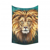 InterestPrint Universe Galaxy Wall Art Home Decor, Cool Head Of Lion Animal Print Cotton Linen Tapestry Wall Hanging Art Sets