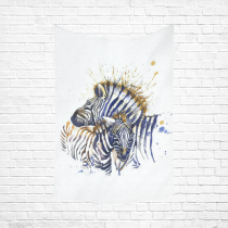 InterestPrint Watercolor Wall Art Home Decor, African Zebras Blue Cotton Linen Tapestry Wall Hanging Art Sets