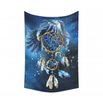 InterestPrint Watercolor Painting Wall Art Home Decor, Cute Dreamcatcher Dream Catcher Blue Cotton Linen Tapestry Wall Hanging Art Sets