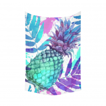 InterestPrint Tropical Summer Beach Wall Art Home Decor, Watercolor Painted Colorful Pineapples and Leaves Cotton Linen Tapestry Wall Hanging Art Sets