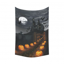 InterestPrint Full Moon Wall Art Home Decor, Halloween Wizard Pumpkin Castle Cotton Linen Tapestry Wall Hanging Art Sets