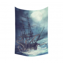 InterestPrint Ocean Wall Art Home Decor, Pirate Ship Octopus Cotton Linen Tapestry Wall Hanging Art Sets