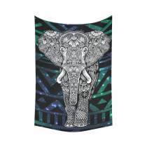InterestPrint Animal Wall Art Home Decor, Tribal Aztec Elephant Bling Cotton Linen Tapestry Wall Hanging Art Sets