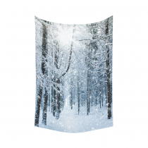 InterestPrint Winter Landscape Wall Art Home Decor, Snowy Trees Forest Nature Scenery Black White Cotton Linen Tapestry Wall Hanging Art Sets