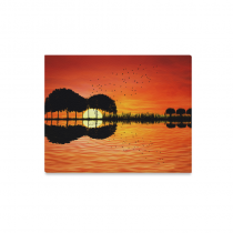 InterestPrint Trees Reflection on Water as a Guitar Canvas Wall Art Print Sunset Painting Hanging Artwork Stretched and Gallery Canvas Ready to Hang for Home Office Bar Hotel Decorations