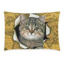 InterestPrint Lovely Cat Yellow Vintage World Map Pillowcase Standard Size 20 x 30 Inches One Side for Couch Bed - A Funny Cat Climb out of Vintage World Map Pillow Cases Cover Set Shams Decorative