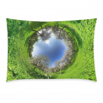 InterestPrint Custom Fall Green Grass Tree Sky Circle Pillowcase Standard Size 20 x 30 Inches One Side for Couch Bed - White Tree Ring Blue Space Planet Pillow Cases Cover Set Pet Shams Decorative