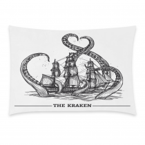 InterestPrint Home Bathroom Decor Sea Octopus Kraken Pillowcases Decorative Pillow Cover Case Shams Standard Size for Couch Bed-Black and White-20x30 Inch-Octopus the Kraken Attack Sail Ship