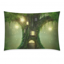 InterestPrint Home Bathroom Decor Summer Forest Tree Pillowcases Decorative Pillow Cover Case Shams Standard Size for Couch Bed-Green-20x30 Inch-Polyester Cotton-Summer Tree Foggy Forest Firefly