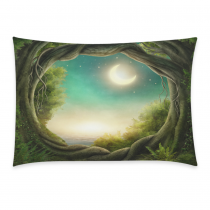 InterestPrint Home Bathroom Decor Forest Moonlight Sea Ocean Pillowcases Decorative Pillow Cover Case Shams Standard Size for Couch Bed-Green-20x30 Inch-Polyester Cotton-Autumn Forest Conifer Tree
