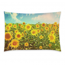 InterestPrint Summer Shabby Chic Sunset Sunflower with Smile Nature Art Pillowcase for Couch Bed 20 x 30 Inches - Nice Sunflower Field Soft Pillow Cover Case Shams Decorative