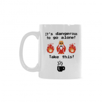 InterestPrint Kitchen & Dining Funny Quote Ceramic Coffee Mug Cup-White-11 oz-Funny Quote-It's Dangerous to Go Alone! Take This