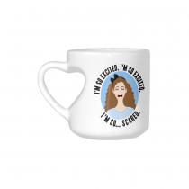 InterestPrint Kitchen & Dining Jessie Spano Saved by the Bell Ceramic Coffee Mug Cup with Love Heart Shaped Handle-White-10.3 oz-I'm So Excited I'm So Excited I'm So Scared