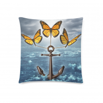 InterestPrint Vintage Ocean Anchor with Three Butterflies Home Decor, Abstract Style Pillowcase 18 x 18 Inches - Stormy Ocean Pillow Cover Case Cushion Shams Decorative