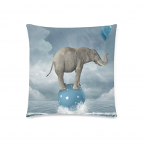 InterestPrint Custom Ocean Funny Elephant on the Blue Ball Pillowcase Square Size 18 x 18 Inches for Couch Bed - Elephant On the Sea Pillow Cases Cover Set Pet Shams