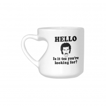 InterestPrint Hello Is It Tea Me You're Youare Your Looking for Quotes White Ceramic Heart-shaped Travel Water Coffee Mug Tea Cup, Funny Unique Birthday Gift Idea for Men Women Mom Dad Him Her Lover
