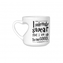 InterestPrint Kitchen & Dining Funny Quote Saying Ceramic Coffee Mug Cup with Love Heart Shaped Handle-White-10.3 oz-I Solemnly Swear That I Am Up To No Good