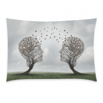 InterestPrint Personality Two Head Trees with Birds Pillowcase for Couch Bed 20 x 30 Inches - Abtract Tree of Life Green Grass Pillow Cover Case Shams Decorative