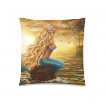 InterestPrint Beautiful Princess Sea Mermaid with Ghost Ship at Sunset Pillowcase for Couch Bed 18 x 18 Inches - Fairy Ocean Shimmer Mermaid Elegant Soft Pillow Cover Case Shams Decorative