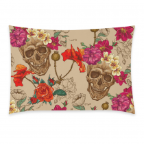 InterestPrint Sugar Skull Home Decor, Beautiful Skull Flower Soft Pillowcase 20 x 30 Inches - the Day of the Dead Colorful Pillow Cover Case Shams Decorative
