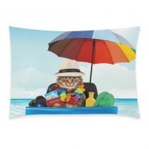 InterestPrint Funny Cat with Hat Home Decor, Summer Ocean Sea Beach Pillowcase 20 x 30 Inches - Sunshine Colorful Umbrella Pillow Cover Case Shams Decorative