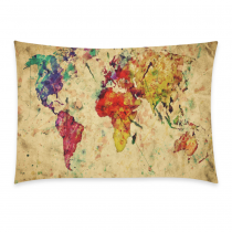 InterestPrint Watercolor Vintage World Map Home Decor, Retro World Map Soft Pillowcase 20 x 30 Inches - Bright Colorful Pillow Cover Case Shams Decorative