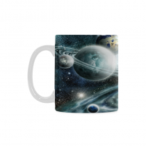 InterestPrint Kitchen & Dining Galaxy Space Planet Ceramic Coffee Mug Cup-White-11 oz-Galaxy Space Planet Solar System Starry Night Sky