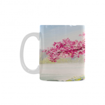 InterestPrint Kitchen & Dining Romantic Cherry Blossom Tree Ceramic Coffee Mug Cup-White-11 oz-Japanese Pink Cherry Tree Blossom Flower Lake