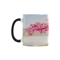 InterestPrint Kitchen & Dining Romantic Cherry Blossom Tree Morphing Mug Heat Sensitive Color Changing Mug Ceramic Coffee Mug Cup-White-11 oz-Japanese Pink Cherry Tree Blossom Flower Lake