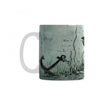 InterestPrint Kitchen & Dining Sea Pirate Octopus Ceramic Coffee Mug Cup-White-11 oz-Underwater Giant Pirate Octopus Attack Gold Coins Fish Anchor Ocean