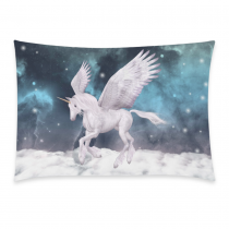 InterestPrint Home Decor Nebula Galaxy Space Unicorn Pillowcase 20 x 30 Inches ( One Side ) - Pegasus Winged Horse Comfortable Pillow Cover Case Shams Decorative