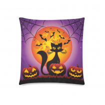 InterestPrint Happy Halloween Home Decor, Cat and Halloween Pumpkins Full Moon Pillowcase 18 x 18 Inches - Purple Pillow Cover Case Shams Decorative