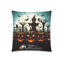InterestPrint Happy Halloween Home Decor, Pumpkin Bat Bird Moon Night Pillowcase 18 x 18 Inches - Halloween Gift Pillow Cover Case Shams Decorative