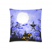 InterestPrint Halloween Pumpkin Home Decor, Orange Pumpkin Tree Branch Pillowcase 18 x 18 Inches - Bat Moon Blue Pillow Cover Case Shams Decorative