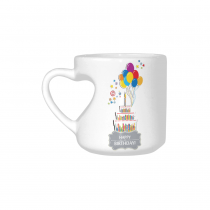InterestPrint 20th 30th 50th Birthday Anniversary Party Cake Balloon White Ceramic Heart-shaped Travel Water Coffee Mug Tea Cup, Funny Unique Gift for Husband Wife Boy Girl Friends Him Her Lover