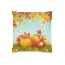 InterestPrint Home Decor Thanksgiving , Autumn Tree Leaves Pumpkin Pillowcase 18 x 18 Inches - Fall Harvest Yellow Soft Pillow Cover Case Shams Decorative
