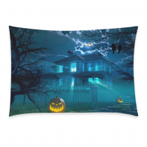 InterestPrint Custom Halloween Night with Haunted Scary House Crows Pumpkin Party Zippered Cushion Pillowcase 20 x 30 - Cotton Soft Pillow Cases Cover Set Shams Decorative