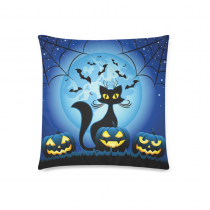 InterestPrint Halloween Funny Cat Home Decor Halloween Pumpkins against Full Moon at Night Pillowcase Cushion 18 x 18 Inches - Blue Soft Pillow Cover Case Shams Decorative
