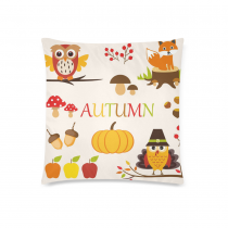 InterestPrint Home Decor Thanksgiving , Autumn Owl Mushrooms Berries Fox Turkey Apples Acorns Pillowcase Cushion 18 x 18 Inches - Autumn Pumpkin Color Pillow Cover Case Shams Decorative