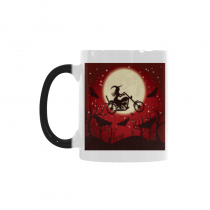 InterestPrint Kitchen & Dining Happy Halloween Morphing Mug Heat Sensitive Color Changing Mug Ceramic Coffee Mug Cup-White-11 oz-Happy Halloween Witch Bat Tree Moon Red Black Color