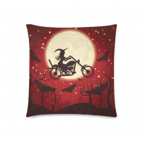 InterestPrint Happy Halloween Moon Night Glitter Star Bat Home Decor Pillowcase 18 x 18 Inches - Witch on A Motorcycle Red Pillow Cover Case Shams Decorative