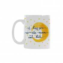 InterestPrint Kitchen & Dining I Love You to the Moon and Back Ceramic Coffee Mug Cup-White-11 oz-Golden Yellow Stars Black Color
