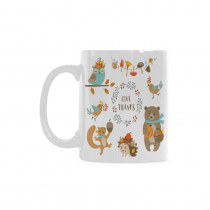 InterestPrint Thanksgiving Design Owl Woodland Animals for Autumn 11 Ounce Ceramic Travel Coffee Mug Tea Cup Set with Sayings - Funny Unique Birthday Gift for Men Women Mom Dad Friend Him Her