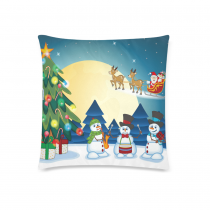 InterestPrint Fantasy Christmas Tree Santa Claus Reindeer Home Decor Pillowcase 18 x 18 Inches - Funny Snowmen Play the Guitar Pillow Cover Case Shams Decorative