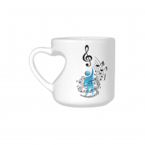 InterestPrint White Ceramic Musician Music Note Icon with Vector People Heart-shaped Travel Coffee Mug Cup with Sayings, Best Friends Friendship Mom Funny Unique Birthday Thanksgiving Gifts