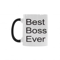 InterestPrint 11oz Best Boss Ever Morphing Mug Heat Sensitive Color Changing Coffee Mug Cup Set with Quotes - Unique Funny Birthday Christmas Gifts for Men Women Him Her Mom Dad