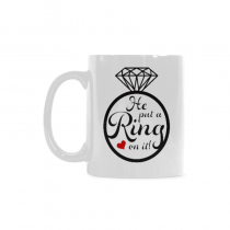InterestPrint 11 Ounce White Ceramic He Put A Ring On It Funny Travel Coffee Mug Cup with Quotes Sayings, Wedding Planning Engagement Mug Cup Christmas Gifts for Men Women Him Her